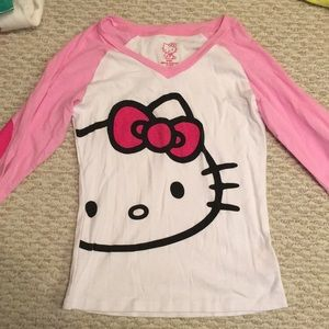 Hello Kitty 3/4 Patched Sleeve Shirt